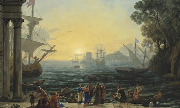 A Mediterranean port at sunrise with the Embarkation of Saint Paula for Jerusalem by Claude Lorrain.